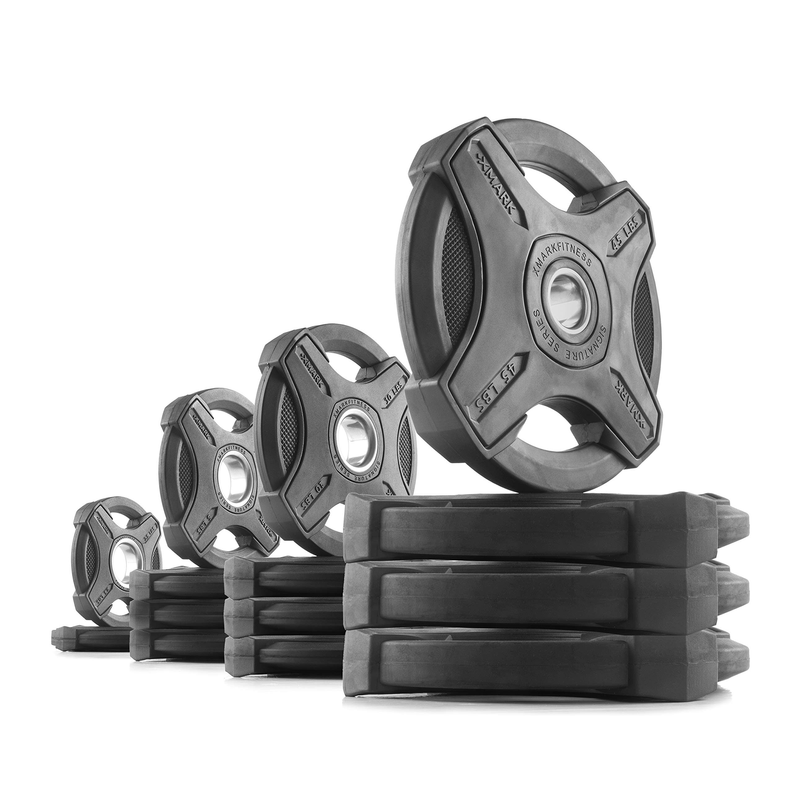 XMark 245 lb Set Signature Plates, One-Year Warranty, Olympic Weight Plates, Cutting-Edge Design