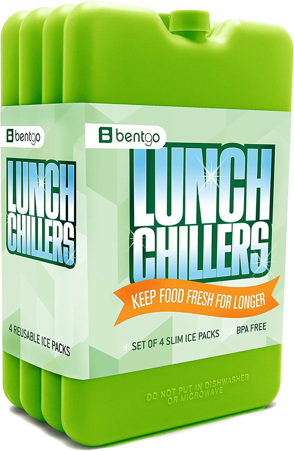 Bentgo Ice Lunch ChillersUltra-thin Ice Packs (4 Pack - Green)