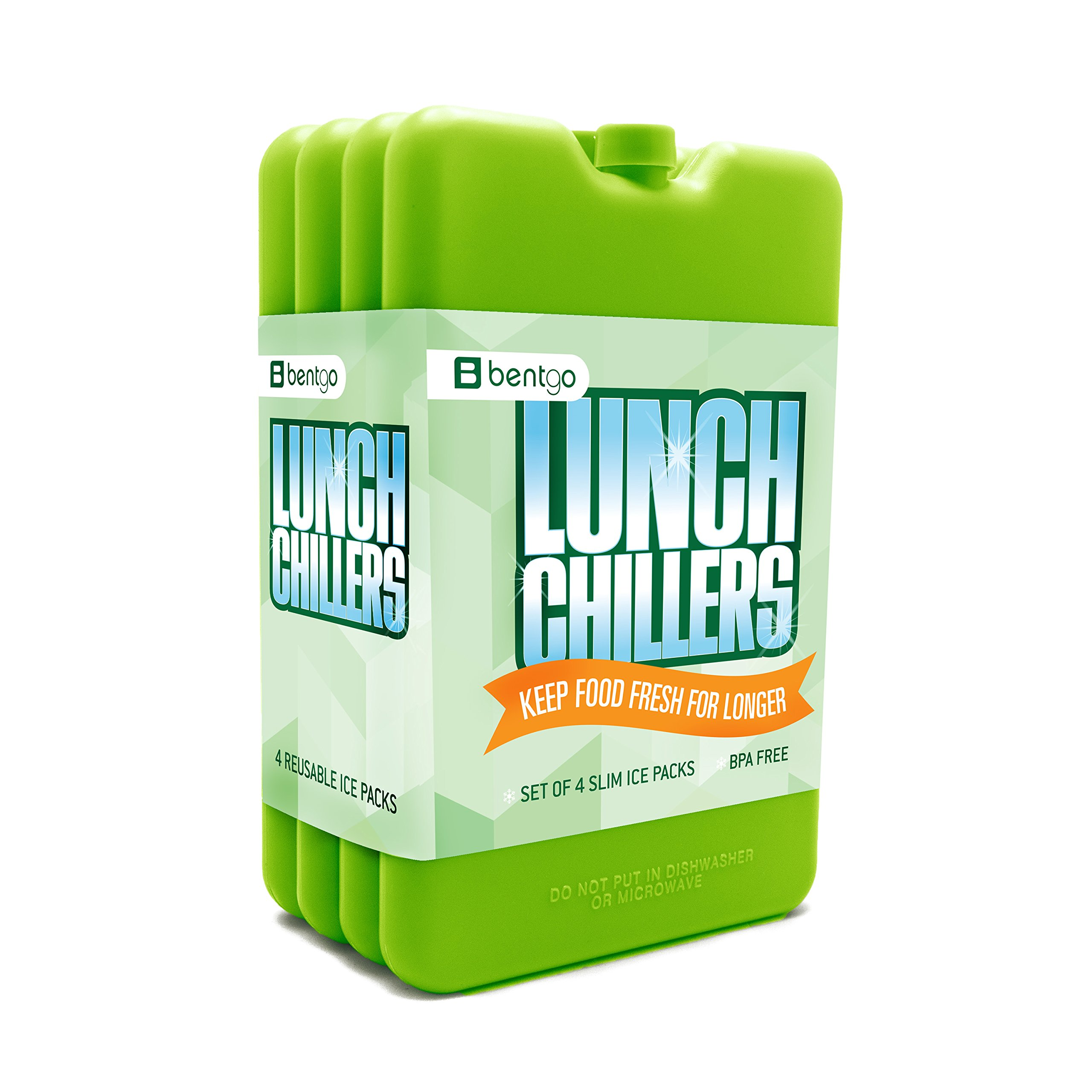 Bentgo Ice Lunch Chillers  Ultra-thin Ice Packs (4 Pack - Green) by Bentgo