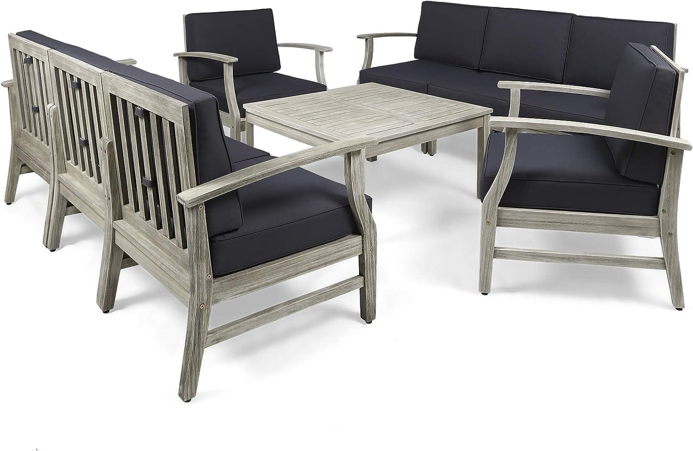 Great Deal Furniture Lorelei Outdoor 9 Piece Acacia Wood Sofa Conversational Set, Light Gray and Dark Gray