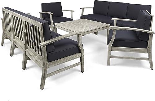 Great Deal Furniture Lorelei Outdoor 9 Piece Acacia Wood Sofa Conversational Set