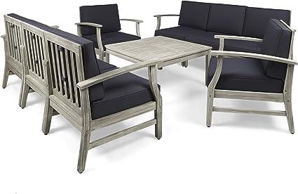 Great Deal Furniture Lorelei Outdoor 9 Piece Acacia Wood Sofa Conversational Set Gray and Dark Gray