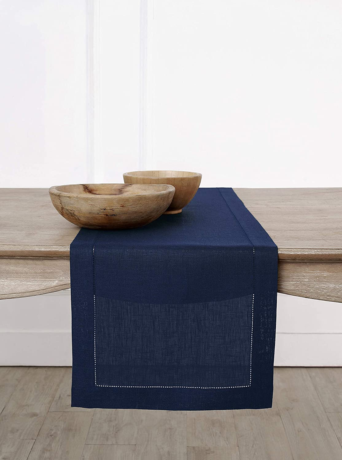Solino Home 100% Pure Linen Table Runner – 16 x 108 Inch, Hemstitched Runner – Navy, European Flax Natural Fabric