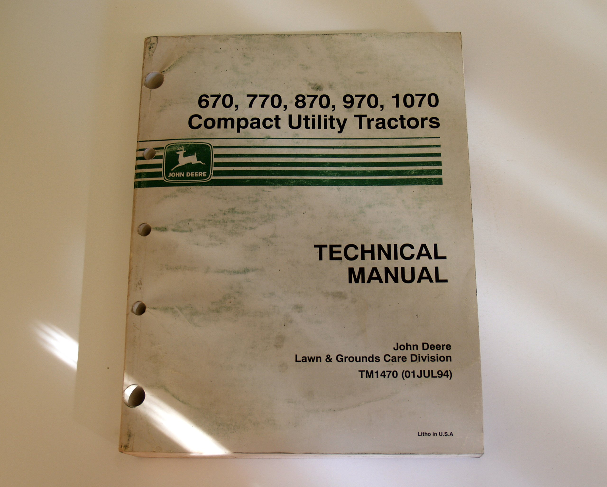 John Deere 670 770 870 970 1070 Compact Utility Tractor Technical Manual  tm1470: John Deere: 0739718155824: Amazon.com: Books