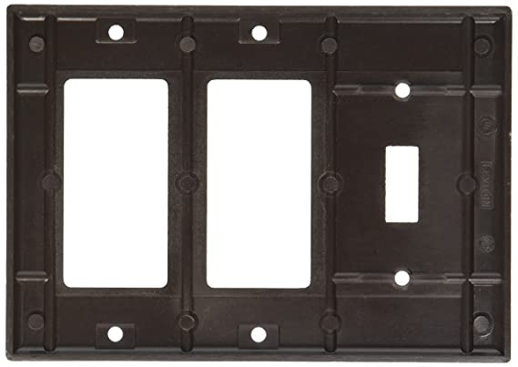 Leviton 80431-T 3-Gang 1-Toggle 2-Decora/GFCI Device Combination Wallplate, Standard Size, Thermoset, Device Mount, Light Almond - Switch And Outlet Plates ...
