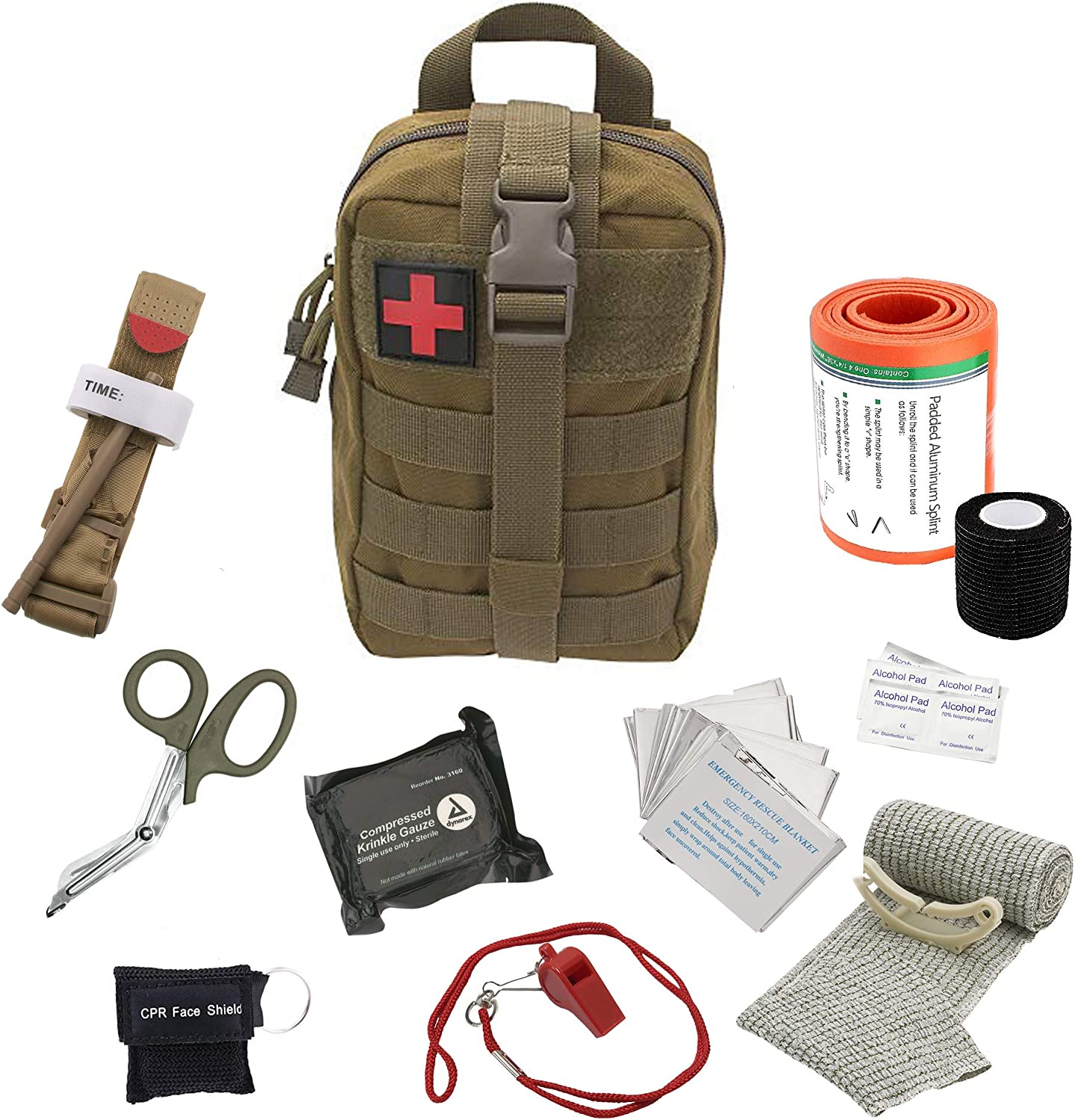 ASA Techmed Tactical First Aid Emergency Kit MOLLE Pouch Combat Action Tourniquet IFAK Compression Dressing- EMT Survival Kit for Travel Car Outdoor Camping