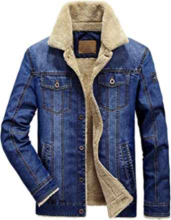 chouyatou Men's Classic Button Front Rugged Sherpa Lined Denim Trucker Jackets
