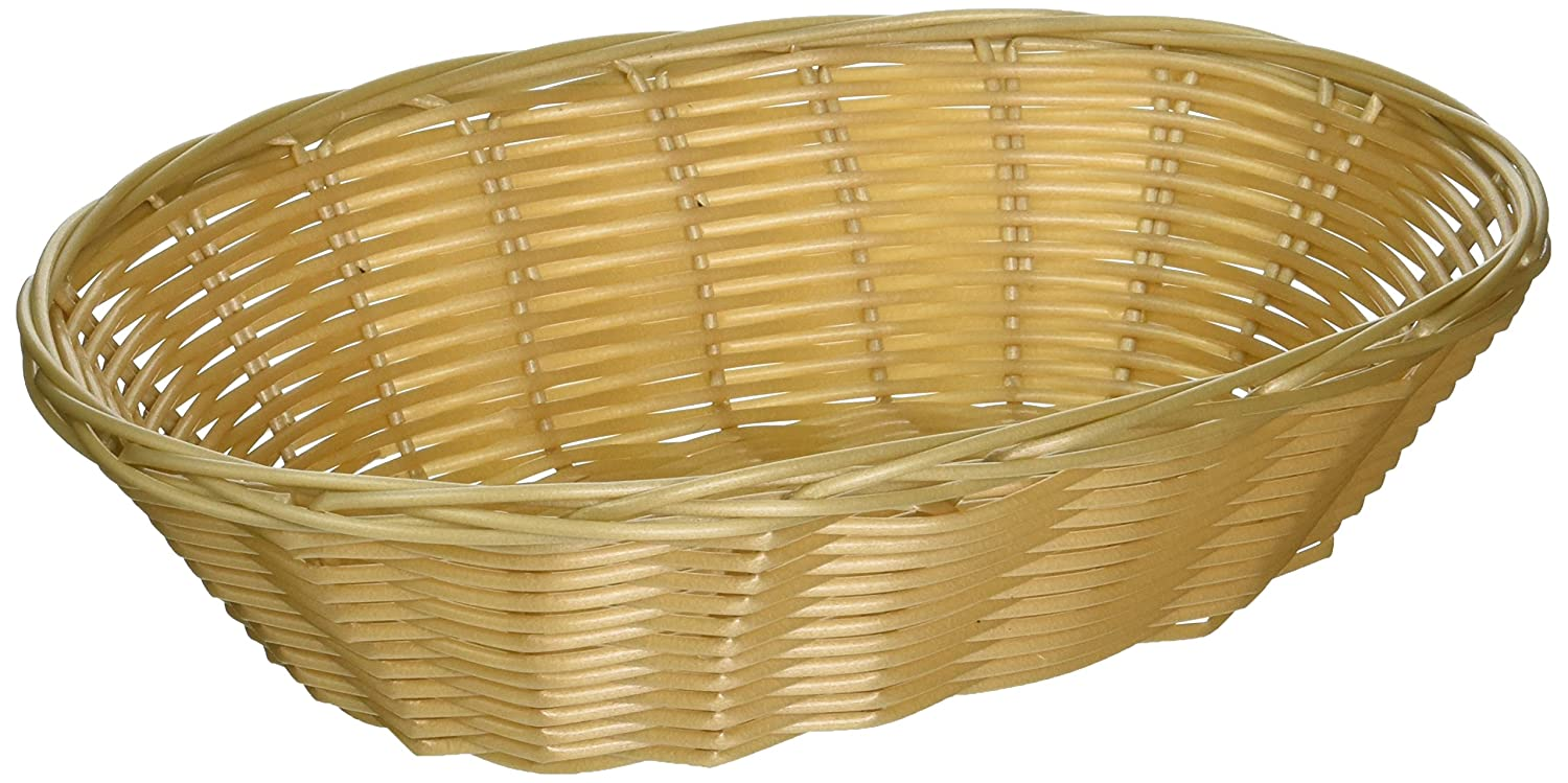 Set of 12, Woven and Bread Natural Color Basket, Oval, 9-1/2-inch Update International BB-97