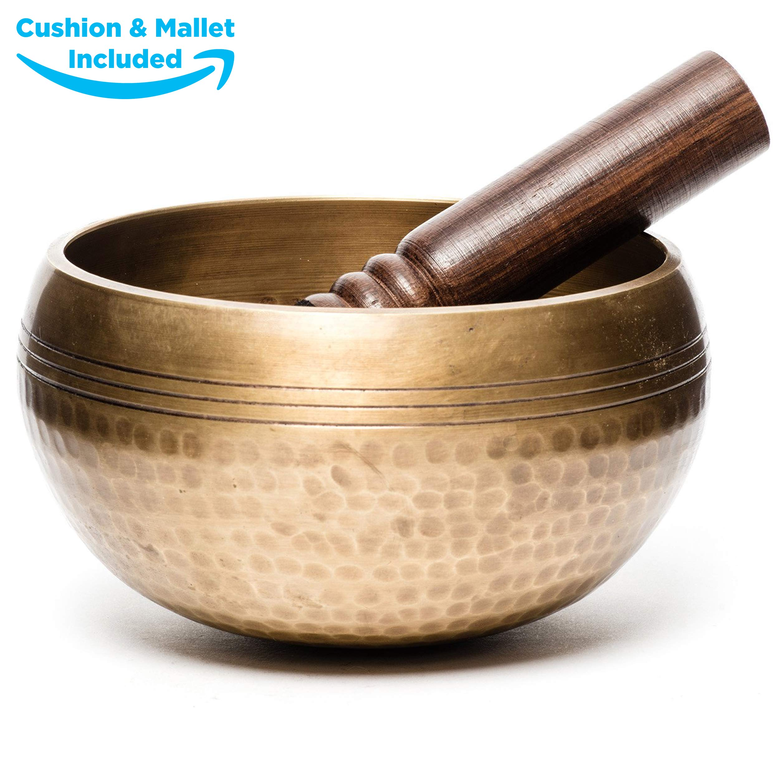 Tibetan Singing Bowl for Meditation - HandCrafted Antique Tibetan Singing Bowl Set - Great for Meditation, Healing Relaxation Therapy, Stress & Anxiety Relief, Chakra Healing (3.5 Inch) (Hammered) by Moscow-Mix