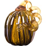 "Glitzhome 6.3"" Handblown Two Tone Stripe Glass Pumpkin Table Accent For Fall & Harvest, Thanksgiving Decorating, Amber & White"