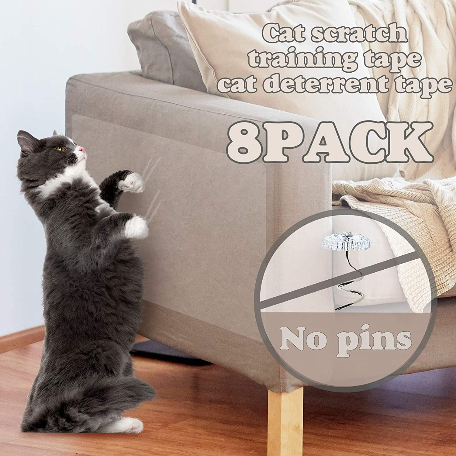 """17/""""by 12/"""" FiGoal 10 Pack Cat Scratch Deterrent Tape Cat Couch Protector Large Size Cat Furniture Protector with 40 Twist Pins and Bonus Cat Fishing Toy"""