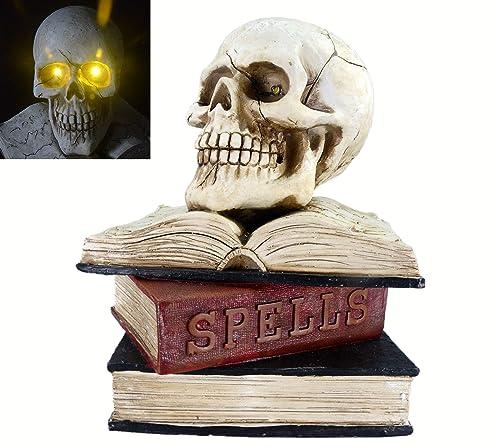 Halloween Skull Table Decoration, 9 Led Spells Book Skull Statue – Scary Ghost Skeleton Skull for Halloween Pay Home Outdoor Decor Book Skull Head