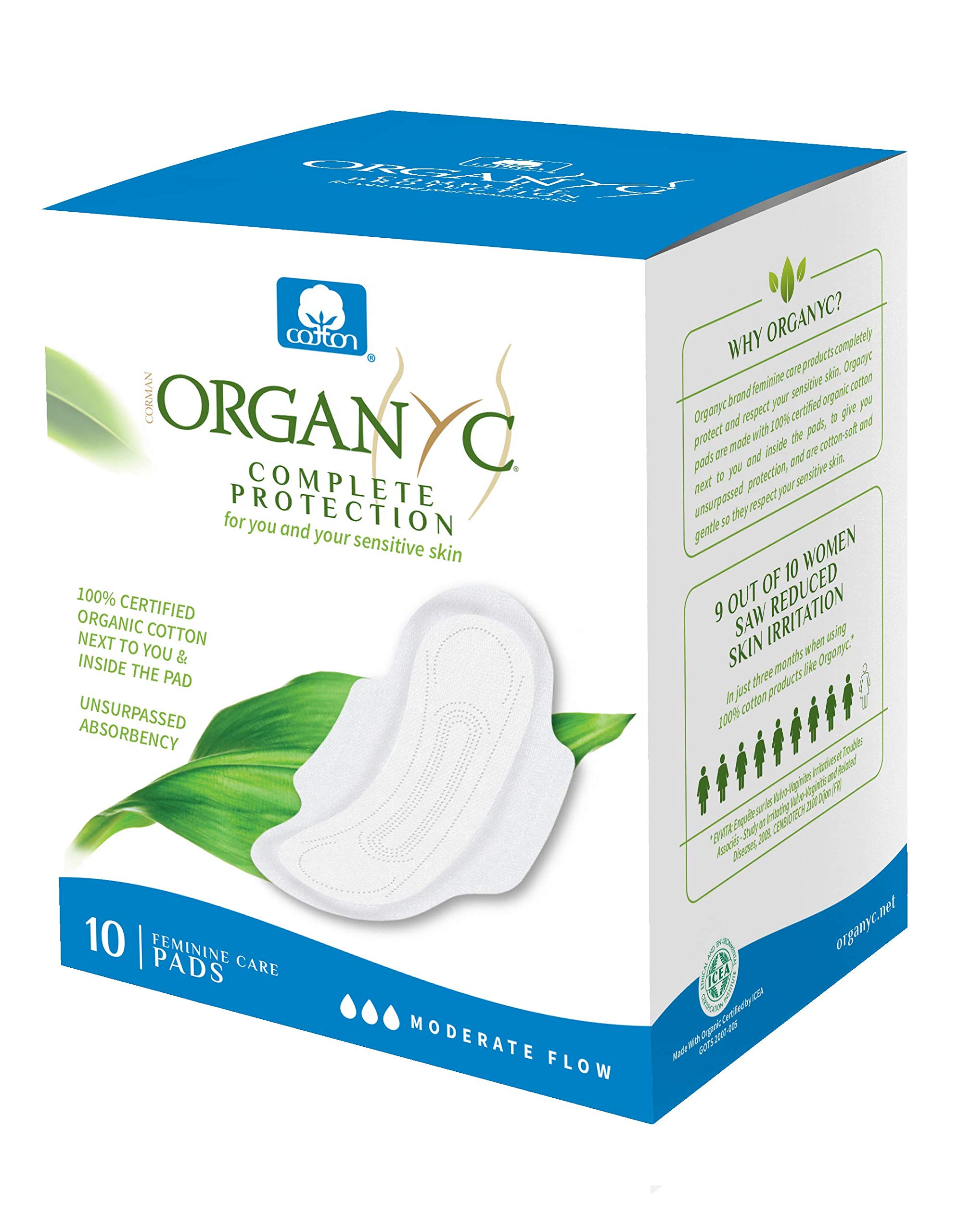 Organyc 100% Certified Organic Cotton Feminine Pads, Moderate Flow, 10 Count product image