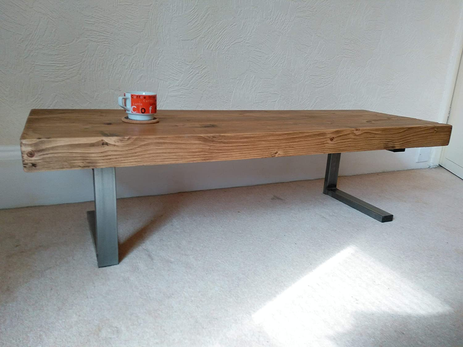 - Coffee Table In Chunky Rustic Design With Steel L Shaped Legs For