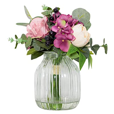 Buy Laverne S Flower Artificial Rose And Berry With Vase Floral Arrangement In Glass Vase Bouquets Centerpieces For Dining Room Table Home Office Wedding Decor Online In Indonesia B08shzw5v2