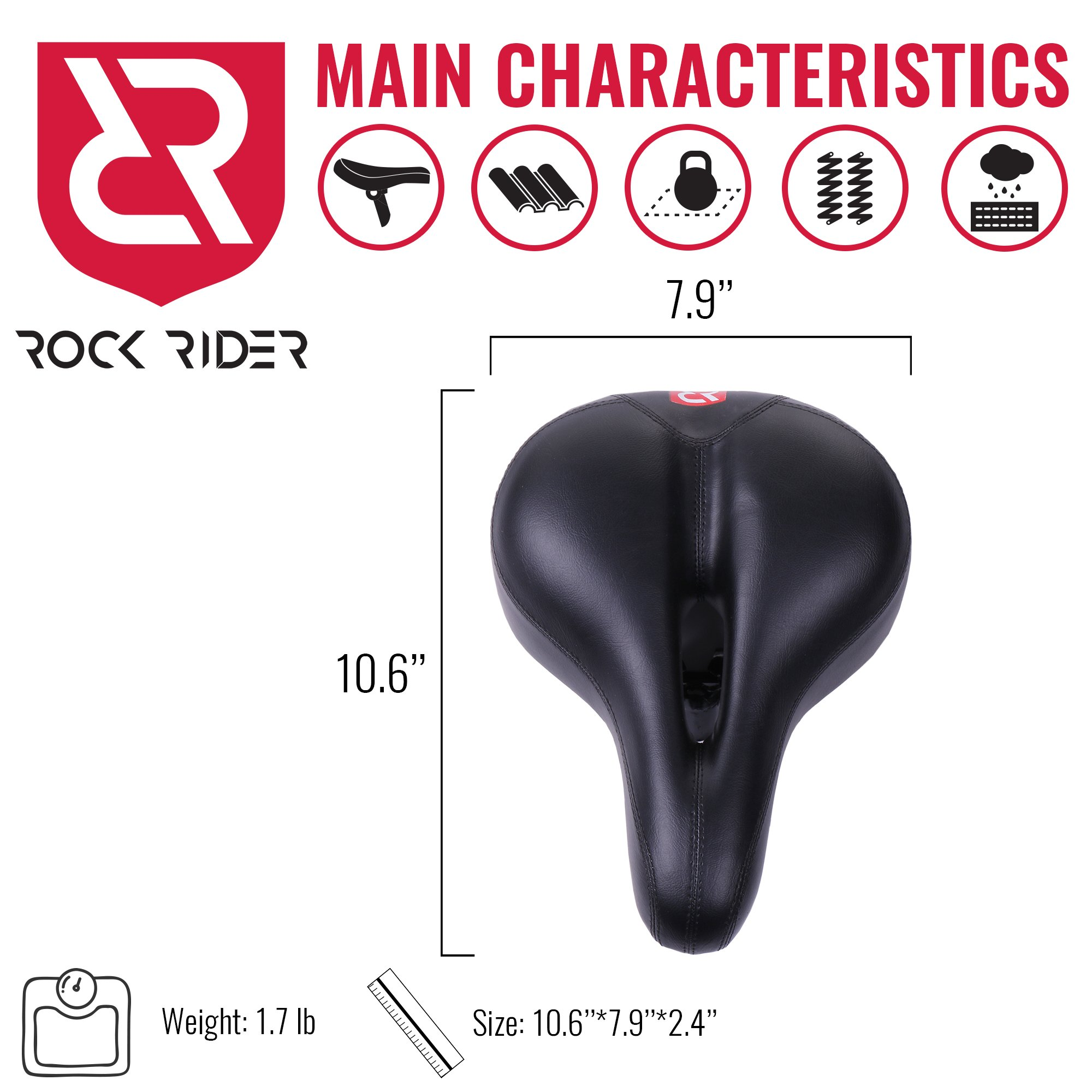 Rock Rider Extremely Comfortable Bicycle Seat Women Man Comfort Healthy Gel Bike Saddle Padded Wide Seat Cover (Black) by Rock Rider (Image #5)
