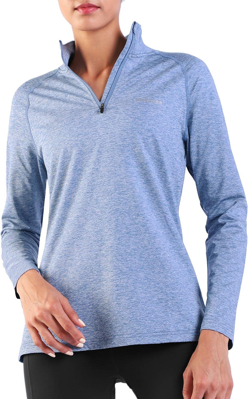 Ogeenier Womens Fleece Thermal Long Sleeve Running Top Sports Shirts Quick-Dry 1//4 Zip Winter Workout Tops Heather Blue-Zip Front M