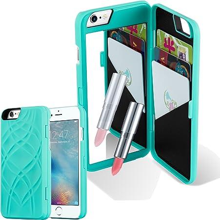 Cadorabo Apple iPhone 6 Plus/iPhone 6S Plus Custodia Hard Cover in Turchese Rigida Cover Protettiva Super Sottile con Motivo, Specchio e 3 Vani di ...