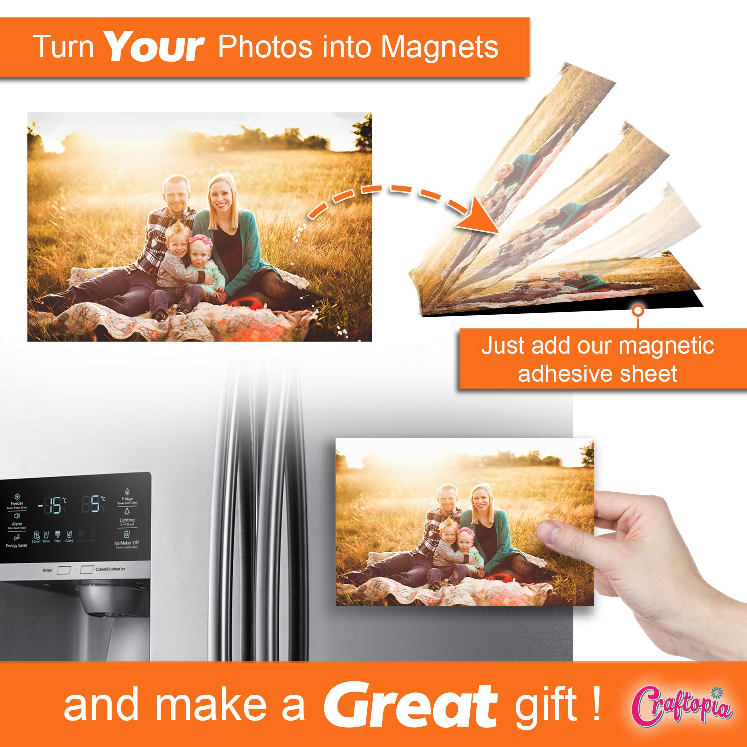 Make Anything a Magnet! Flexible Peel and Stick Self Adhesive for Crafts Photos Stamp Dies and More 4 x 6 4 x 6 12 Pack Craftopia Magnetic Adhesive Sheets Pack of 12