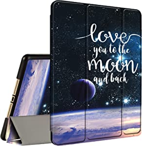 iPad 10.2 Case (2020/2019) 8th/7th Generation ipad Case with Pencil Holder, AMOOK Tri-Fold Stand Smart Protective Cover Case for New Apple iPad 8/7 Gen 10.2 inch-I Love You to The Moon & Back