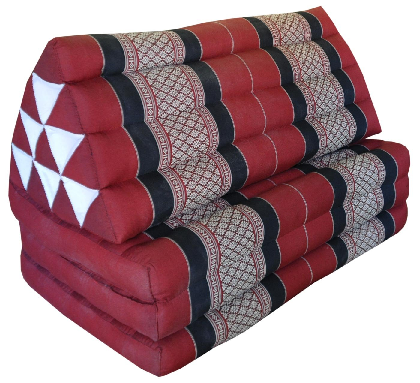 Thai triangle cushion/mattress XXL, with 3 folding seats, burgundy/red, sofa, relaxation, beach, pool, meditation, yoga, made in Thailand. (82318) by Wilai GmbH
