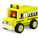 Wonderworld Unique Design Mini Toy Yellow - Imaginative Play Toy School Bus, Real Rubber Tires + Bonus Driver Included
