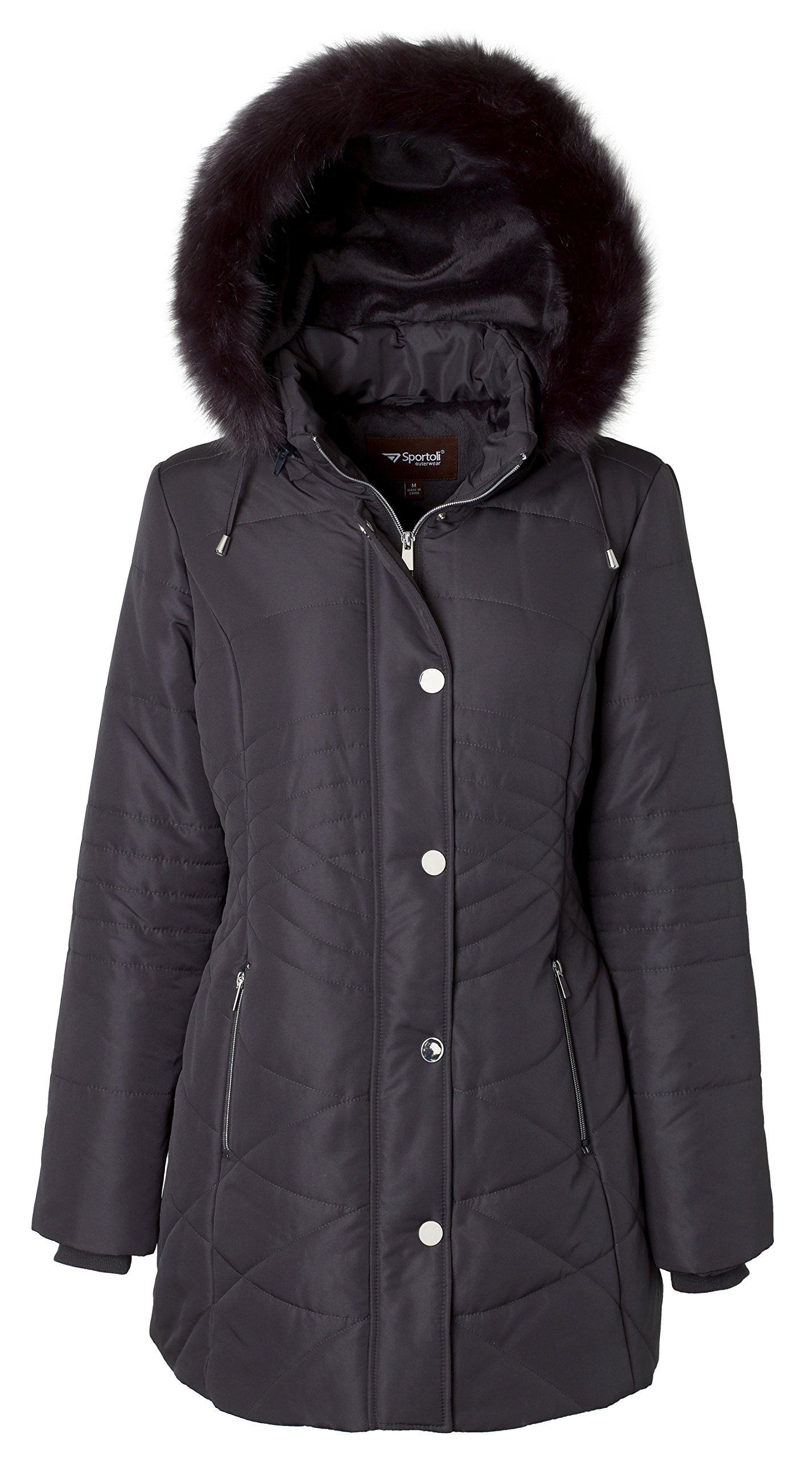 Sportoli Women's Longer Length Plush Lined Puffer Coat and Zip-off Detacheable Fur Trim Hood - Hematite (Large)