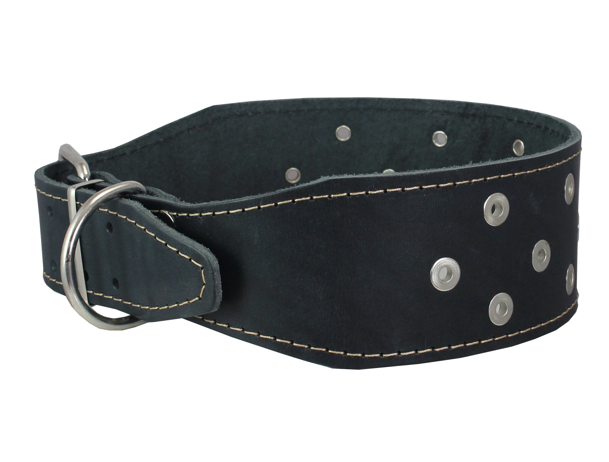 Dogs My Love 3'' Extra Wide Heavy Duty Genuine Leather Studded Black Leather Collar. Fits 19''-23'' Neck. for Large Breeds - Pitbull, American Staffordshire
