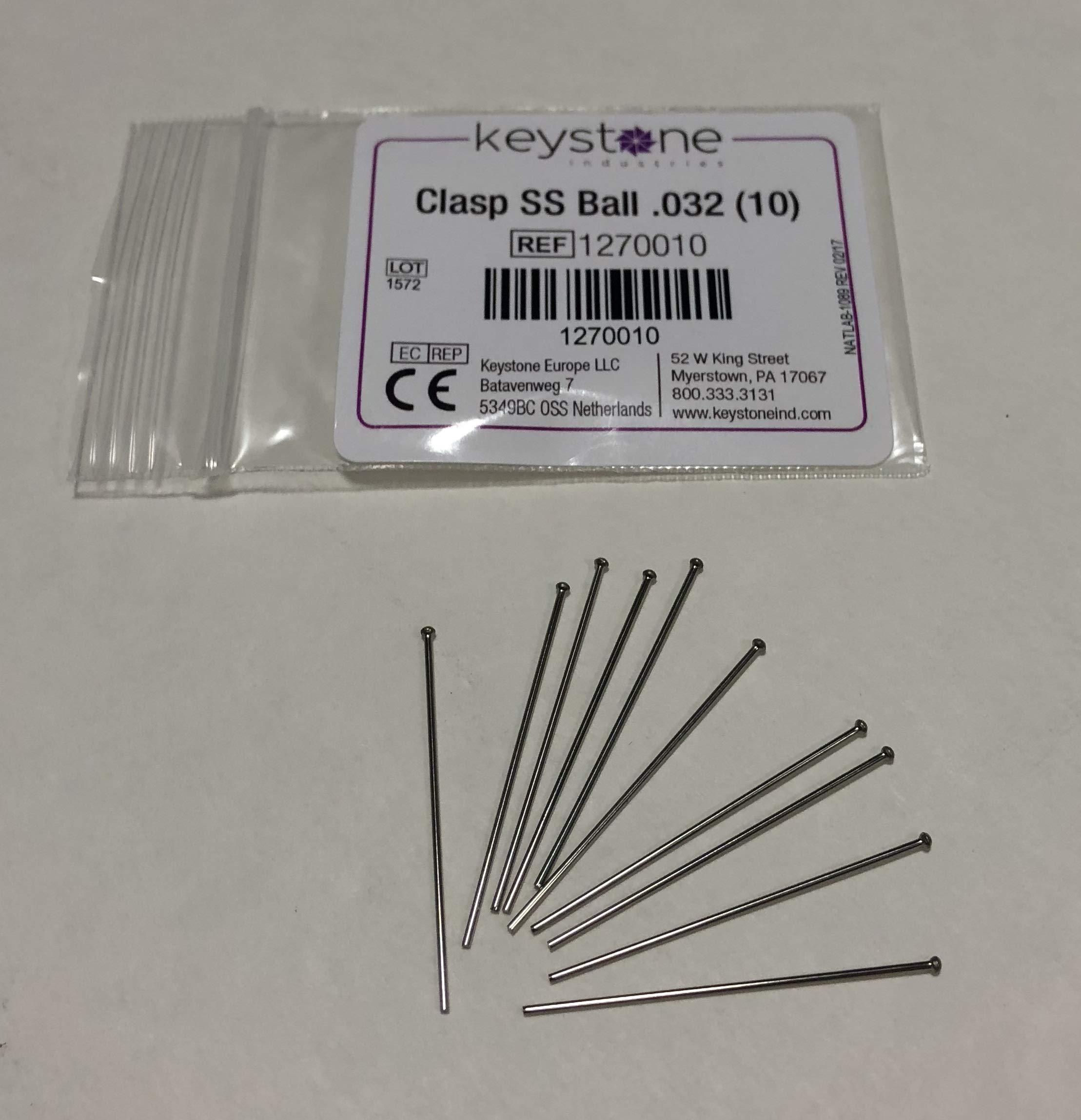 Keystone SS Ball Clasps, .032'' Dia Large, 10/pkg