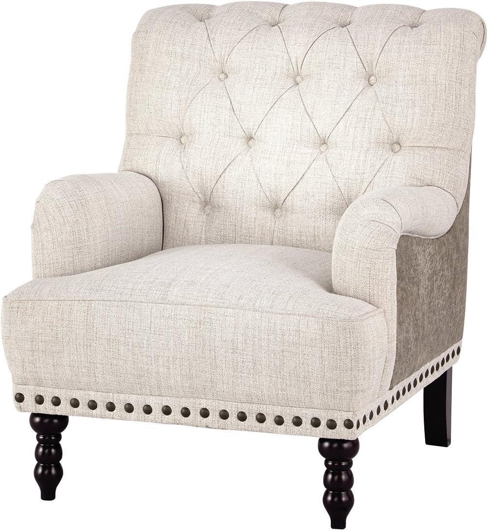 Ashley Furniture Signature Design – Tartonelle Accent Chair – Ivory Taupe Fabric – Nailhead Trim – Black Finish Legs