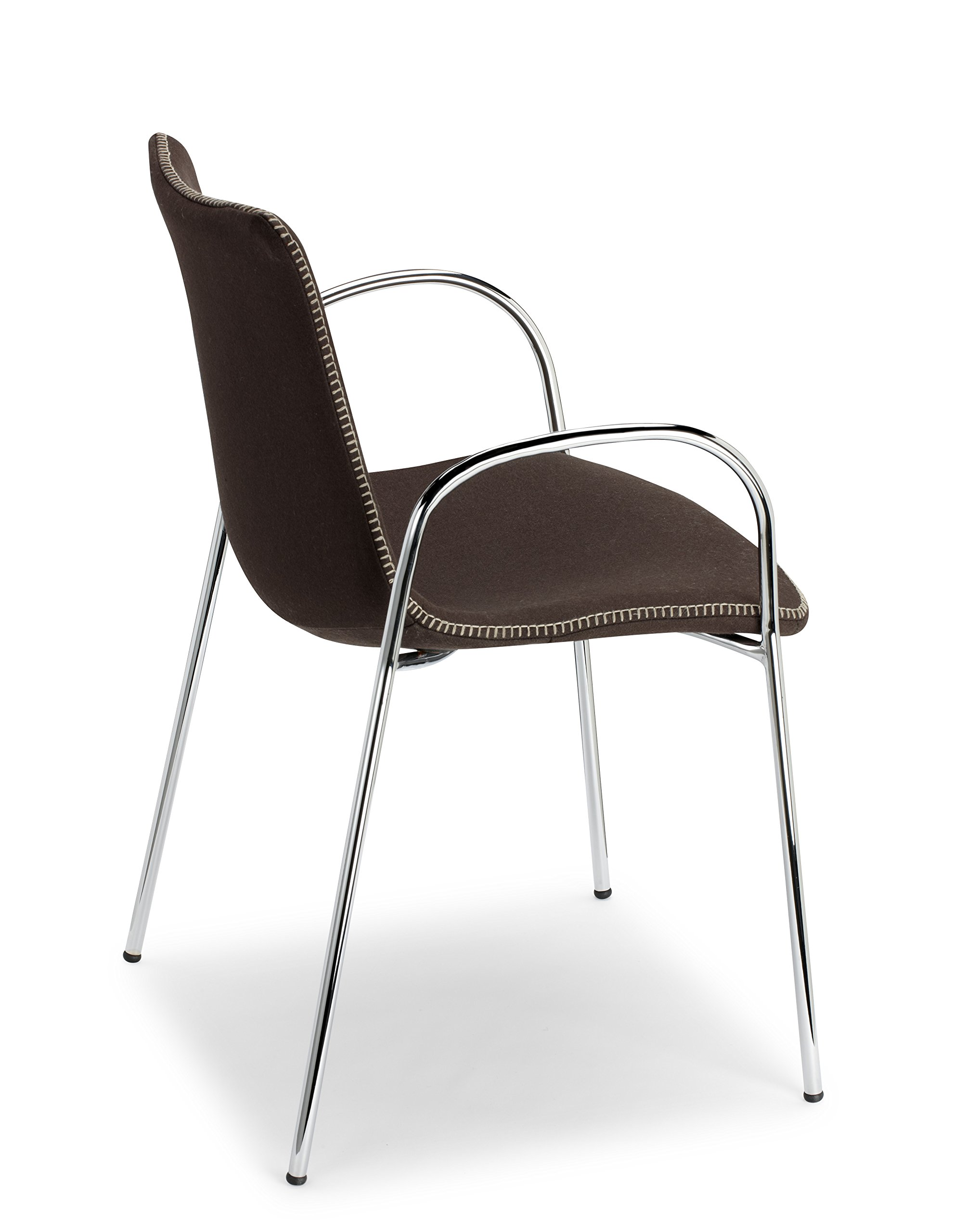 Parada One Design Zebra Pop Upholstered Dining Chair with Armrests, Polycarbonate Core and Chrome Legs, Brown Wool,Pack of 2 - Main body: upholstered polycarbonate core, Frame: 16-millimeter chrome-plated tubular steel- 4-legs, with armrest Wool upholstered Suitable for indoor use only - kitchen-dining-room-furniture, kitchen-dining-room, kitchen-dining-room-chairs - 81curFolzJL -