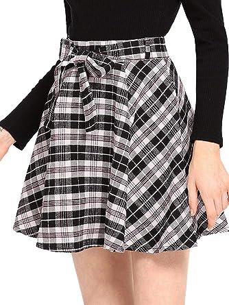 83f68b63147 Milumia Women Plaid Mini Skater A line Skirt Belted Zipper Pleated Business  Casual Black S