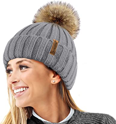 BM Hat with Pom Pom Faux Fur beaniemütze Bobble Hat Knitted Cap Bag 103