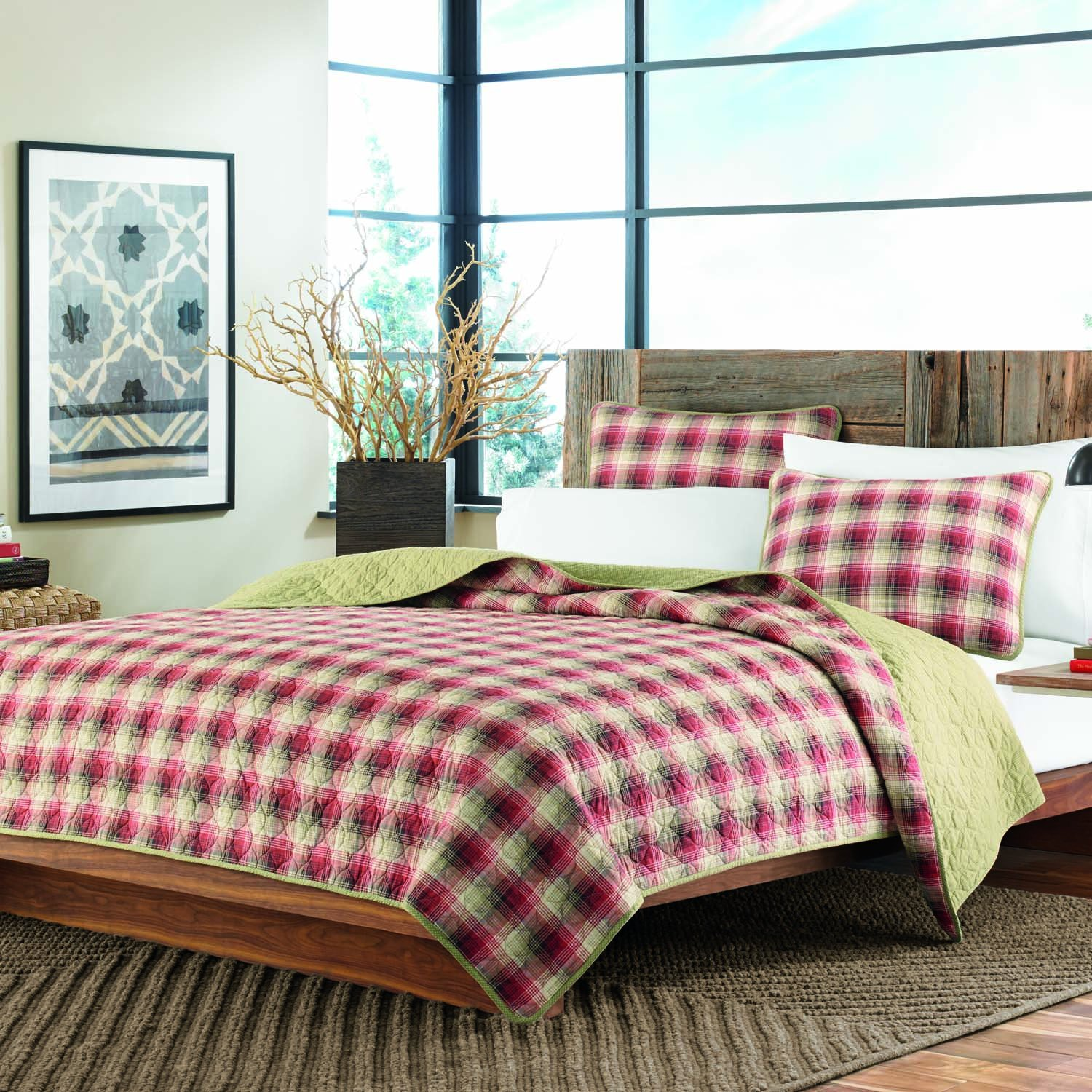 Eddie Bauer Ravena Plaid 3-Piece Cotton Reversible Quilt Set, Full/Queen
