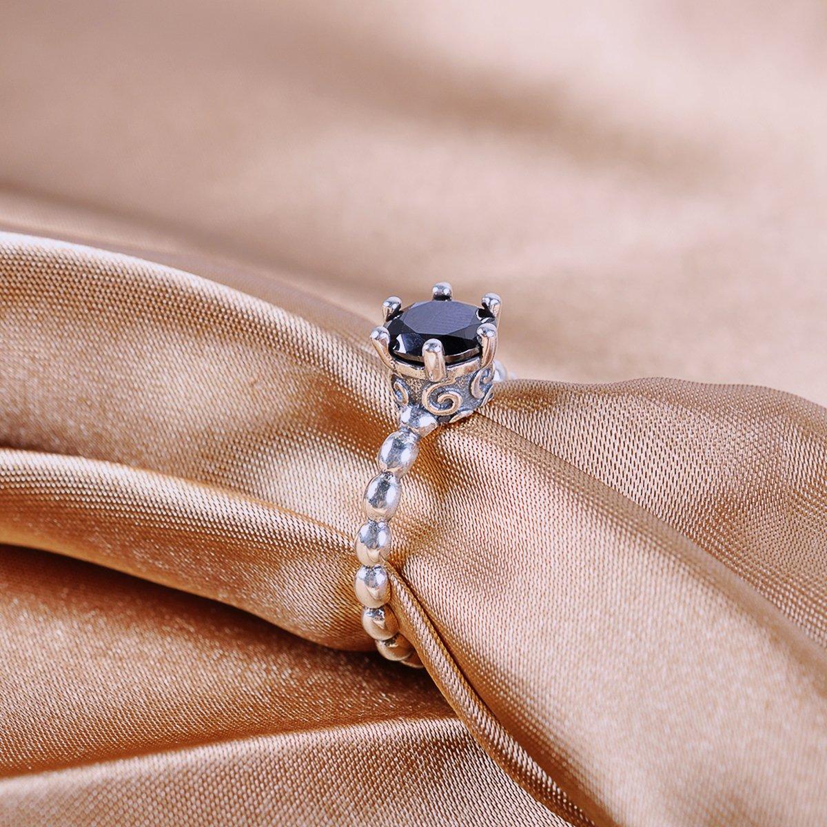 Amazon.com: Twenty Plus Silver Ring with Black Cubic Zirconia For ...