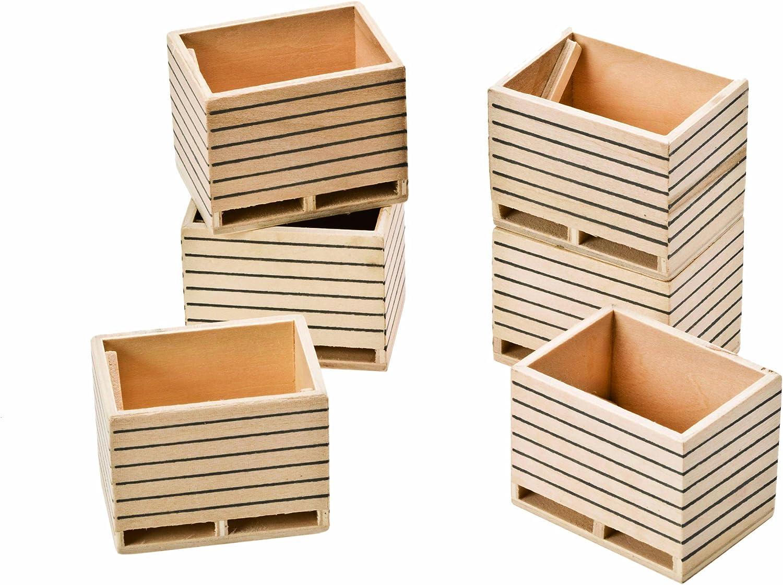 Kids Globe 610611 - Paquete de 6 Cajas de Madera a Escala 1:32