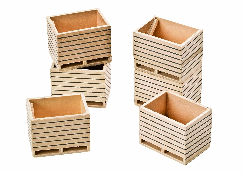 Kids Globe 610611 - Paquete de 6 cajas de madera a escala 1:32: Amazon.es: Juguetes y juegos
