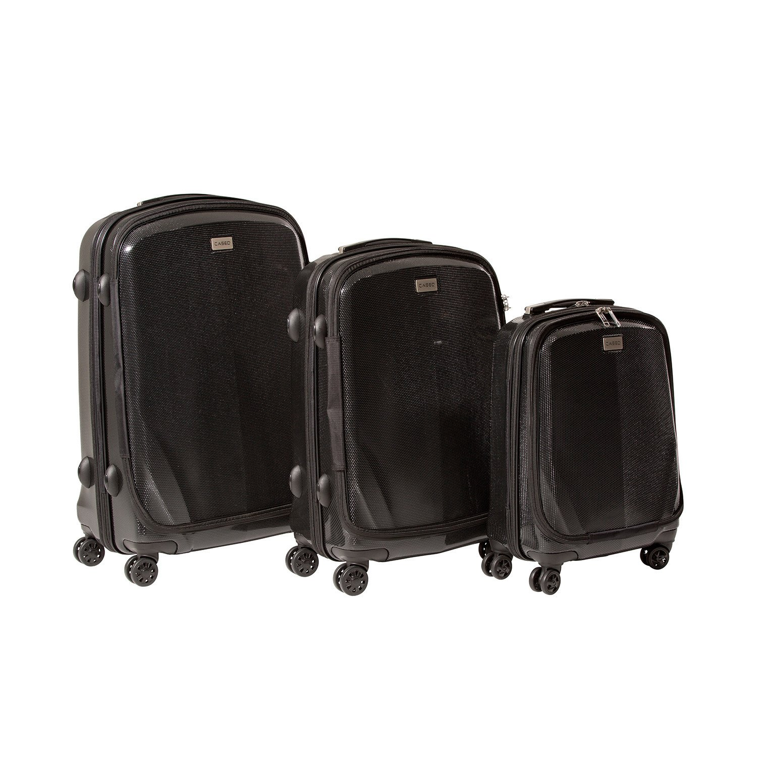 CASED One - 22'', 26'', and 30'' Hard Case Luggage (Set of 3) (22'', 26'' & 30'', Black) by CASED Luggage