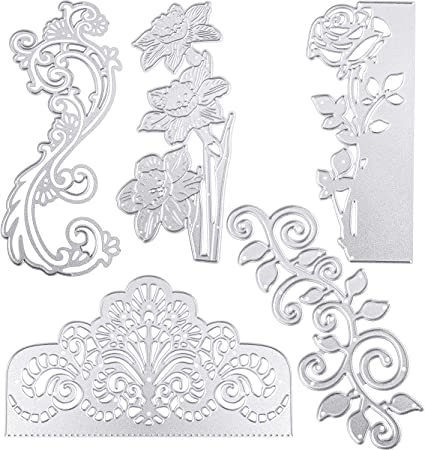 Flower Metal Die Cuts,Wedding Square Lace Flower Border Cutting Dies Cut Stencils for DIY Scrapbooking Photo Decorative Embossing Paper Dies for Scrapbooking Card Making Supplies