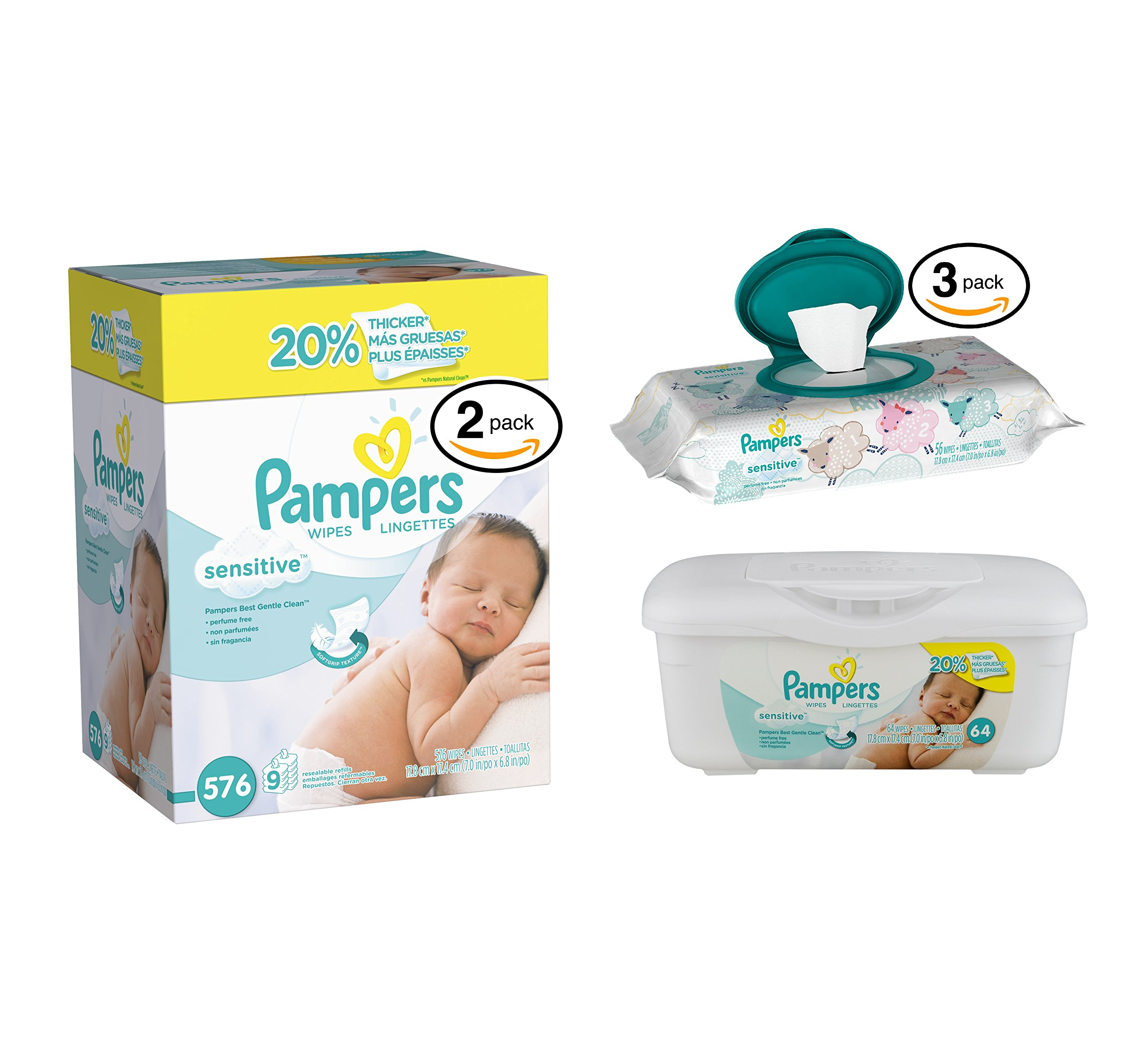 Pampers Sensitive Wipes (18 Refill-64ct / 1 Tub-64ct / 3 Travel Pack-56ct, Sensitive Wipes) by Pampers (Image #1)