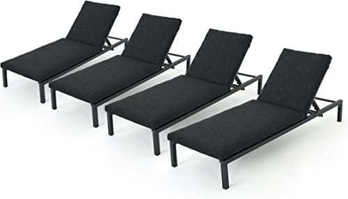 Jerry Outdoor Dark Grey Outdoor Mesh Chaise Lounges with Black Aluminum Frame Set of 4