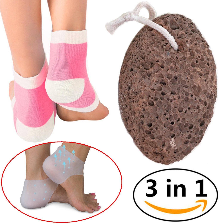 Natural Pumice Stone Moisturizing Socks Gel Back Heel Sleeves, Foot File Tool Callus Remover Pink
