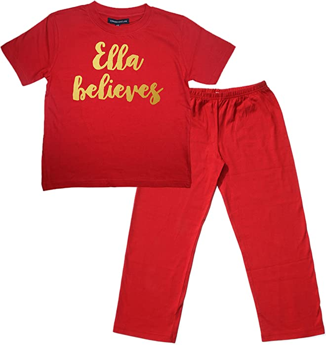 8874c81b2 2-3 Years Children s Red PJ Set Personalised Believes With Gold ...