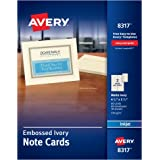 "Avery Ink Jet Embossed Note Cards, 4-1/4"" x 5-1/2, Ivory, 60 Cards & Envelopes/Box (8317)"