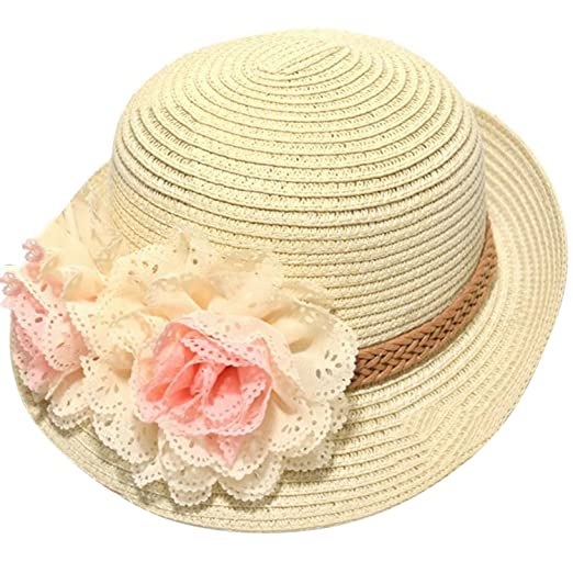Apparel Accessories Girl's Hats Cute Kids Summer Crochet Straw Beach Sun Hat With Flowers