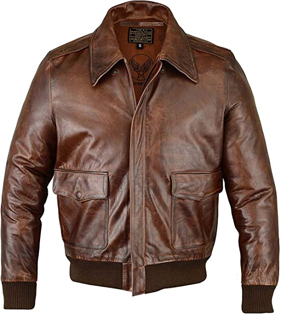 NEW MEN WWII BOMBER AIR FORCE 100/% GENUINE LEATHER FLIGHT A-1 BROWN TAN JACKET