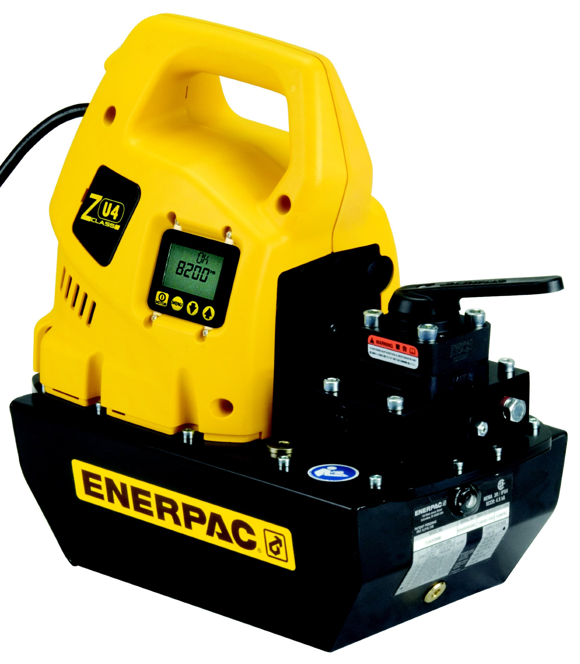 Enerpac ZU4308KB Universal Electric Pump with VM33 Jog Valve Liquid Crystal Display 115V and 8 L Usable Oil Capacity