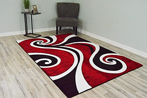 PlanetRugs Premium 3D Effect Hand Carved Thick Modern Contemporary Abstract Area Rug Design 327 Red 4'x5'3''
