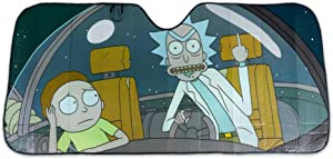 Official Rick and Morty Auto Sunshade - Space Cruiser Flipping the Bird - Heat Shield for Car Windshield - Accessories for Vehicles - Funny Protective Visor Cover Reflector - Licensed Merchandise