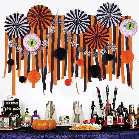 SUNBEAUTY Decoration Halloween Kit en Papier Noir Orange pour ...